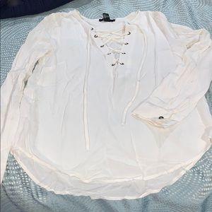 Forever 21 White Long Sleeve Top